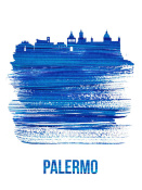 NAXART Studio - Palermo Skyline Brush Stroke Blue