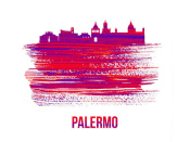 NAXART Studio - Palermo Skyline Brush Stroke Red