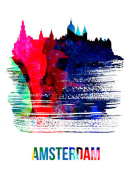 NAXART Studio - Amsterdam Skyline Brush Stroke Watercolor