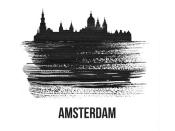 NAXART Studio - Amsterdam Skyline Brush Stroke Black II