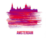NAXART Studio - Amsterdam Skyline Brush Stroke Red