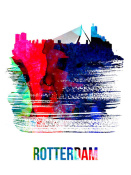 NAXART Studio - Rotterdam Skyline Brush Stroke Watercolor