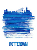 NAXART Studio - Rotterdam Skyline Brush Stroke Blue