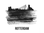 NAXART Studio - Rotterdam Skyline Brush Stroke Black II