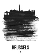 NAXART Studio - Brussels Skyline Brush Stroke Black