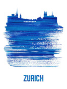 NAXART Studio - Zurich Skyline Brush Stroke Blue