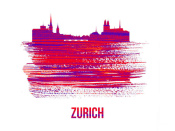 NAXART Studio - Zurich Skyline Brush Stroke Red