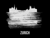 NAXART Studio - Zurich Skyline Brush Stroke White