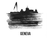 NAXART Studio - Geneva Skyline Brush Stroke Black II