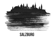NAXART Studio - Salzburg Skyline Brush Stroke Black II