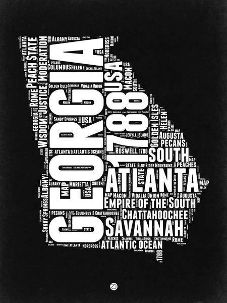 Georgia Black And White Map By Naxart Studio Canvas