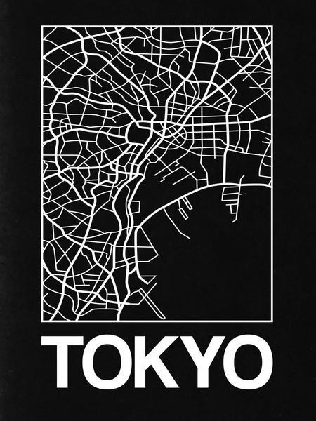 Black Map Of Tokyo By Naxart Studio Canvas Print At Naxart Com